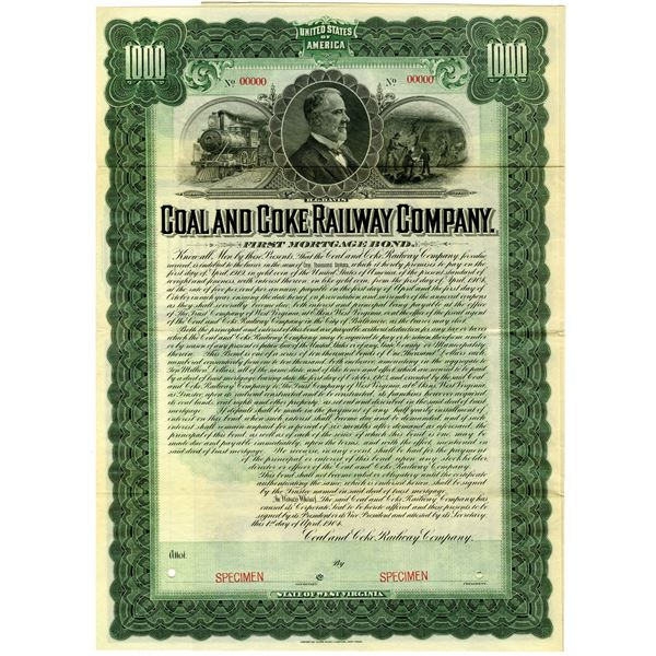 Coal and Coke Railway Co. 1905 Specimen Bond