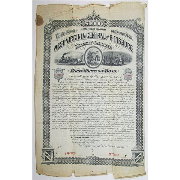 West Virginia Central and Pittsburg Railway Co. 1881 Specimen Bond