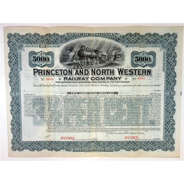 Princeton and North Western Railway Co., 1901 Specimen Bond