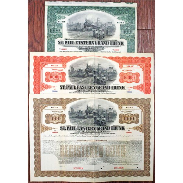 St. Paul Eastern Grand Trunk Railway Co., 1913 Specimen Registered and Coupon Bond Trio