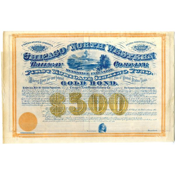Chicago and North Western Railway Co., Menominee Extension, 1871 Unlisted Railroad $500 Specimen Bon