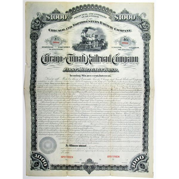 Chicago and Tomah Railroad Co. 1880 Specimen Bond Rarity