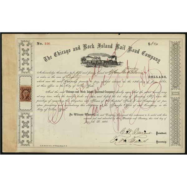 Chicago and Rock Island Rail Road Co., 1866 /C Bond Signed by C.W. Durant as President