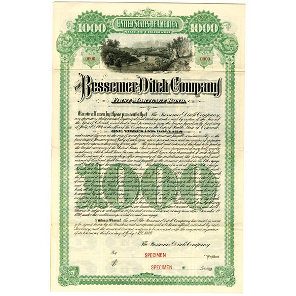 Bessemer Ditch Co. 1889 Specimen Bond