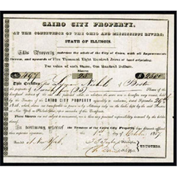 Cairo City Property 1857 I/U Stock Certificate