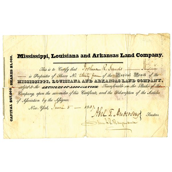 Mississippi, Louisiana and Arkansas Land Co. 1837 Issued Stock Certificate