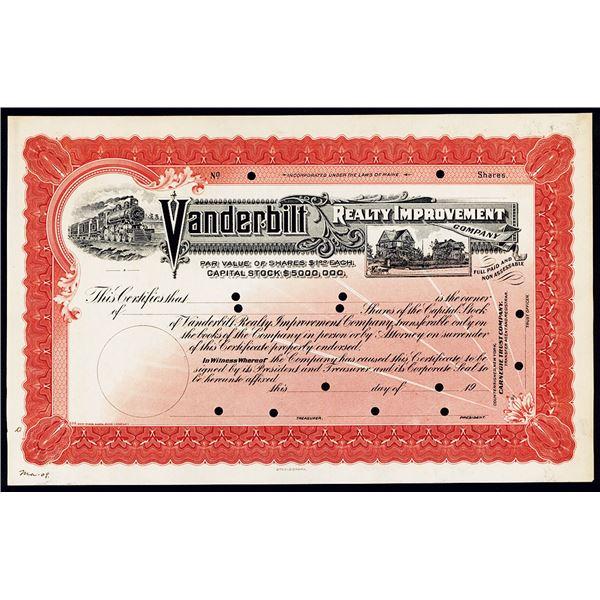 Vanderbilt Realty Improvement Co., 1909 Specimen Stock Certificate