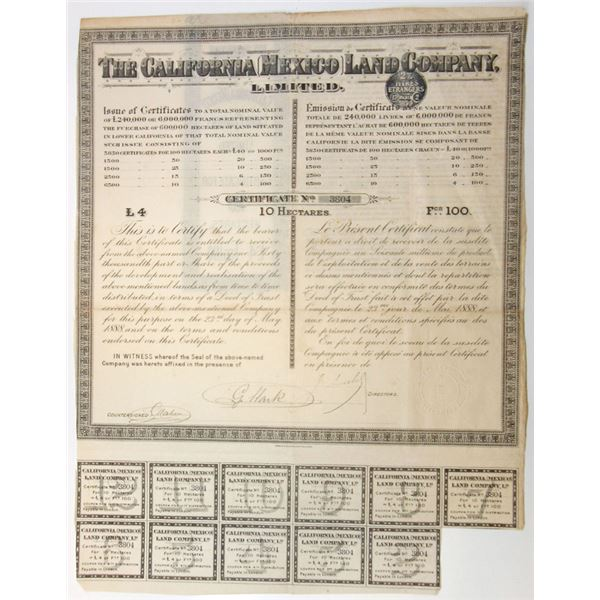 California  (Mexico) Land Co., 1888 I/U Land Agreement