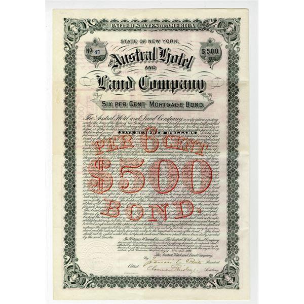 Austral Hotel and Land Co. 1890 I/U Bond