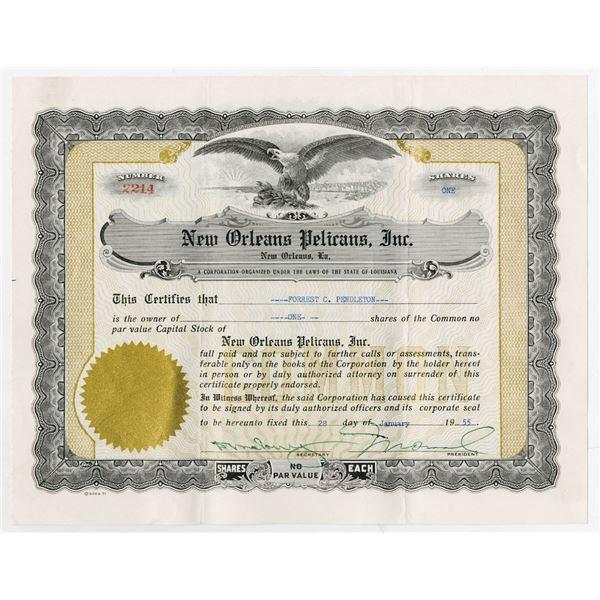 "New Orleans Pelicans, Inc., ""Baseball Team"", 1955 I/U Stock Certificate."