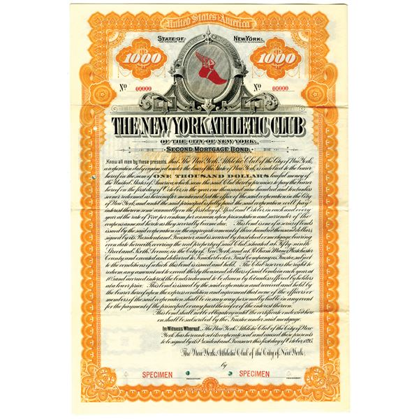 New York Athletic Club of the City of New York 1895 Specimen Bond