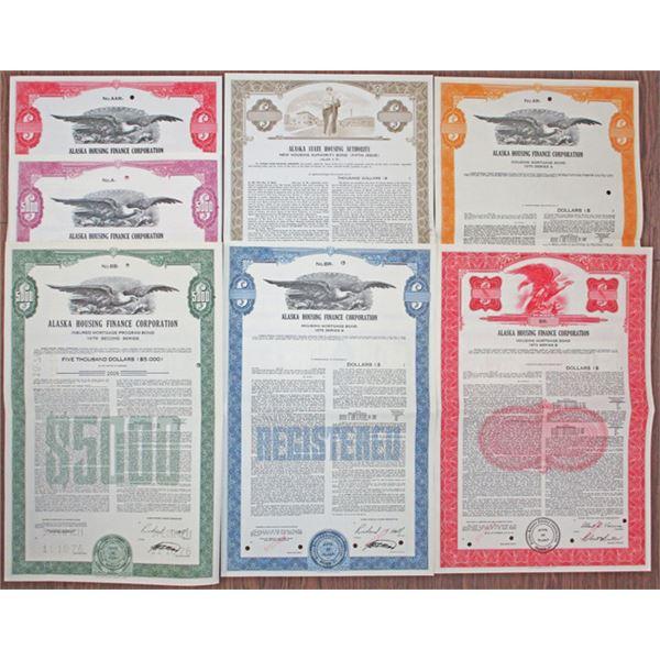 Alaska Housing Finance Corp. Specimen Bond Group of 7, ca.1969 to 1976