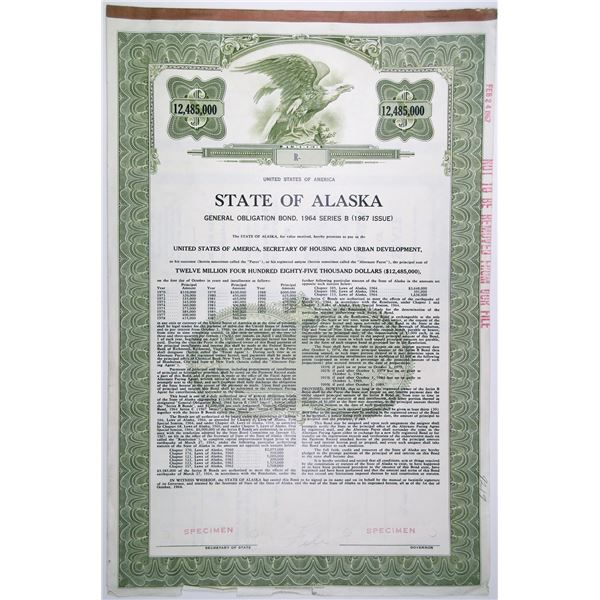 State of Alaska, 1964 Specimen Bond Issued for Funding Rebuilding from the March 1964 Earthquake