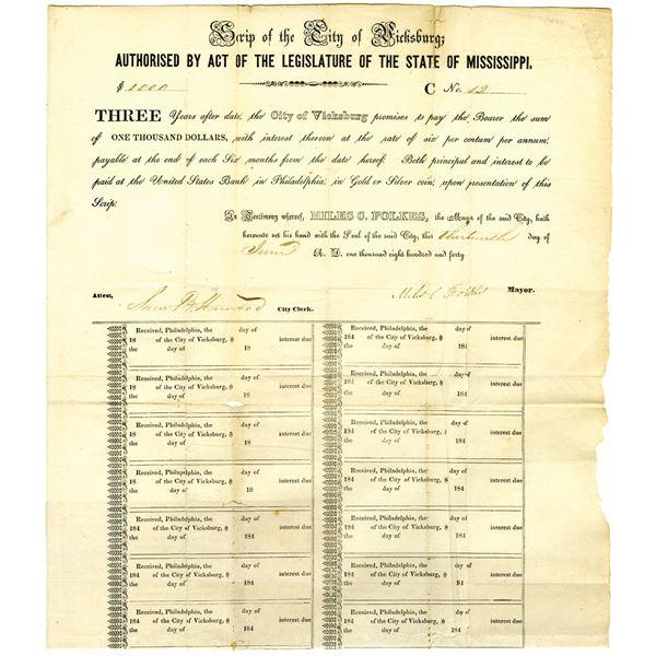City of Vicksburg, 1840 Issued Scrip Certificate