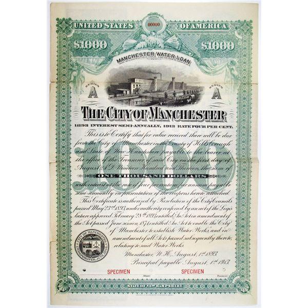 City of Manchester, 1893 Specimen Bond