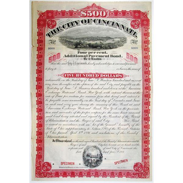 City of Cincinnati, 1891 Specimen Bond