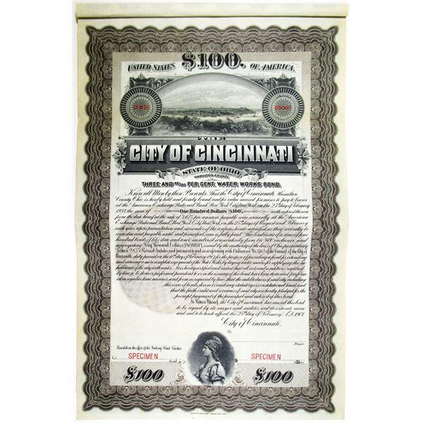City of Cincinnati, 1907 Specimen Bond
