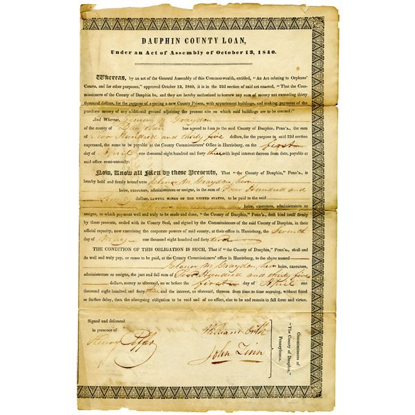 Dauphin County, Pennsylvania, 1843 Issued Loan and Resolution Pair