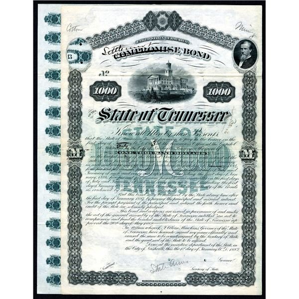 State of Tennessee, Settlement Bond (On Corrected Compromise Bond) 1882 Specimen Used as Model.