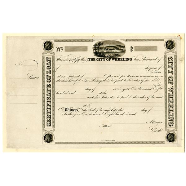 City of Wheeling, 1830-40's Proof Bond