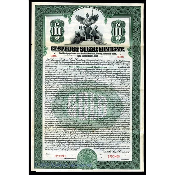 Cespedes Sugar Co. 1924 Specimen Bond.