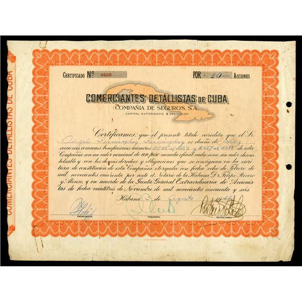 Comerciantes Detallistas de Cuba Compania De Seguros, S/A. 1957 Stock Certificate.