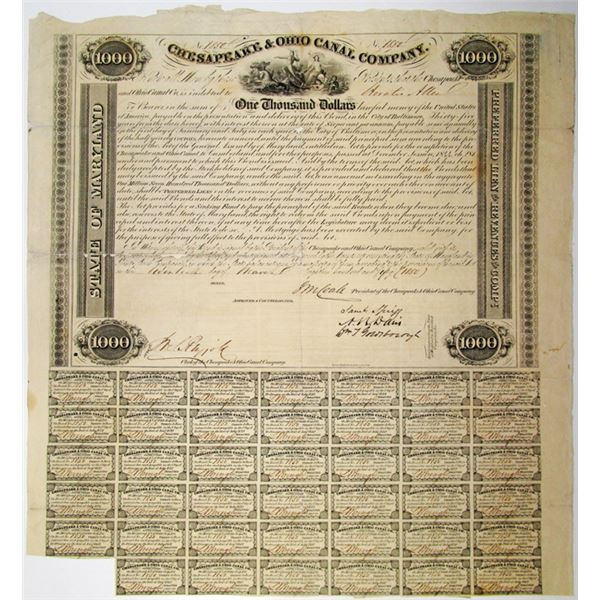 Chesapeake & Ohio Canal Co. 1850 I/U Bond