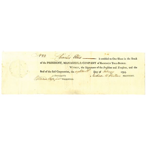 Rancocus Toll-Bridge, 1793 Issued Stock Certificate Signed by Joshua M. Wallace
