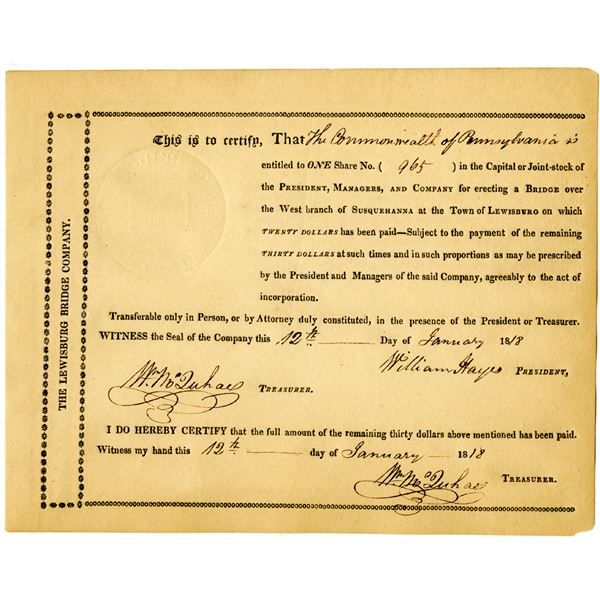 Lewisburg Bridge Co. 1818 Issued Stock Certificate
