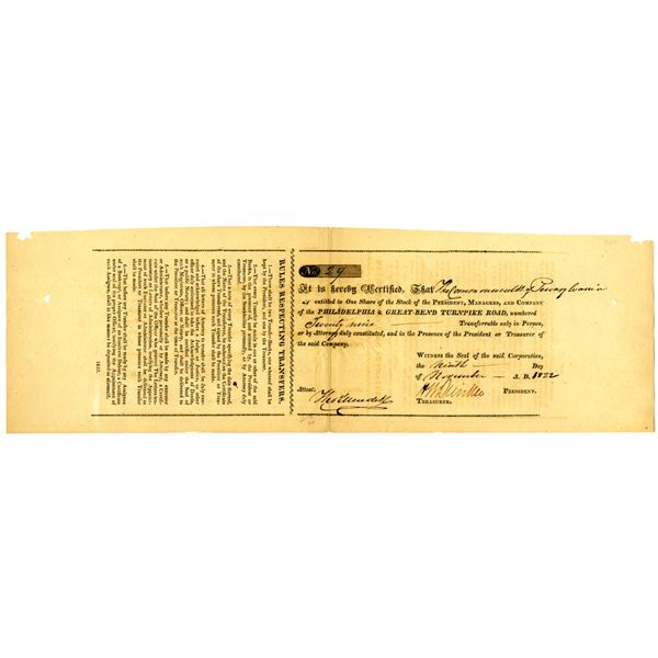 Philadelphia & Great-Bend Turnpike Road, 1822 Issued Stock Certificate
