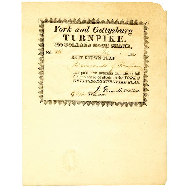 York and Gettysburg Turnpike, 1821 Issued Stock Certificate