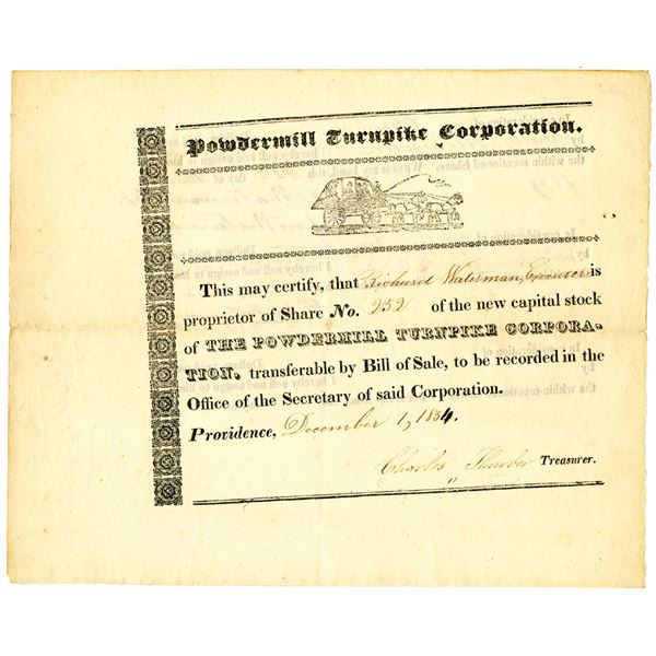Powdermill Turnpike Corp. 1834 Issued Stock Certificate