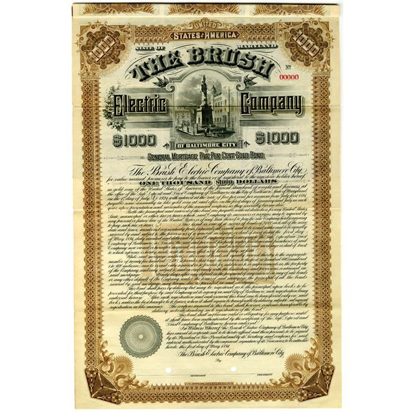 Brush Electric Co. of Baltimore City 1894 Specimen Bond