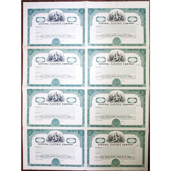 General Electric Uncut Sheet of 8 Specimen-proof Stock Certificates