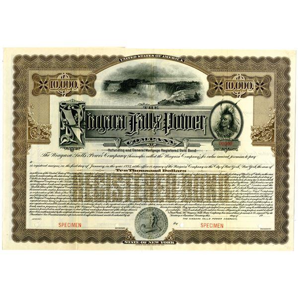 Niagara Falls Power Co. 1909 Specimen Registered Bond