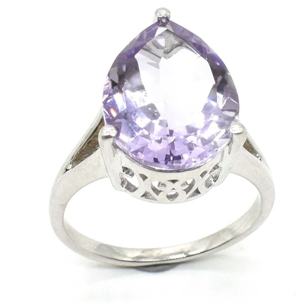 SILVER PINK AMETHYST(9.3CT) RHODIUM PLATED RING