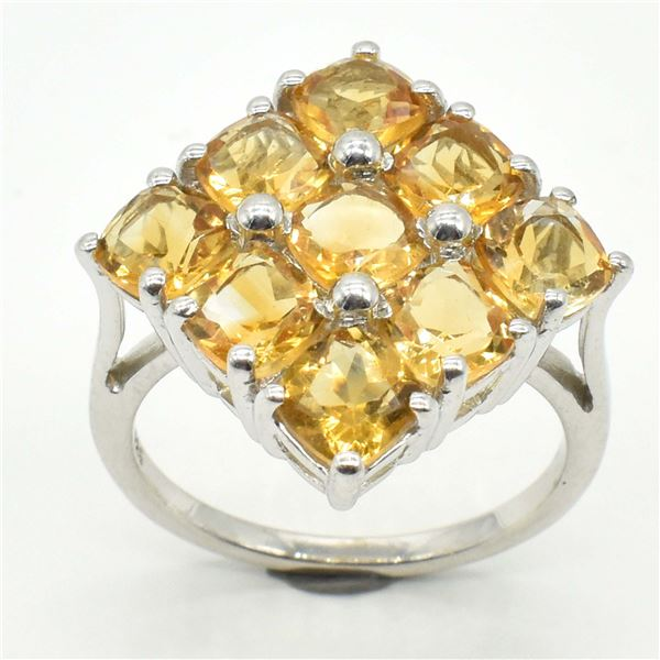 SILVER CITRINE(3.1CT) RHODIUM PLATED RING