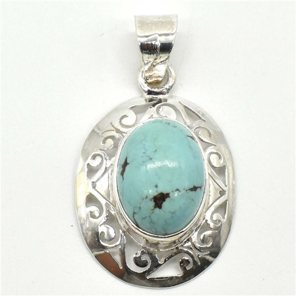 SILVER TURQUOISE(8.9CT)  PENDANT (~WEIGHT 5.7G)