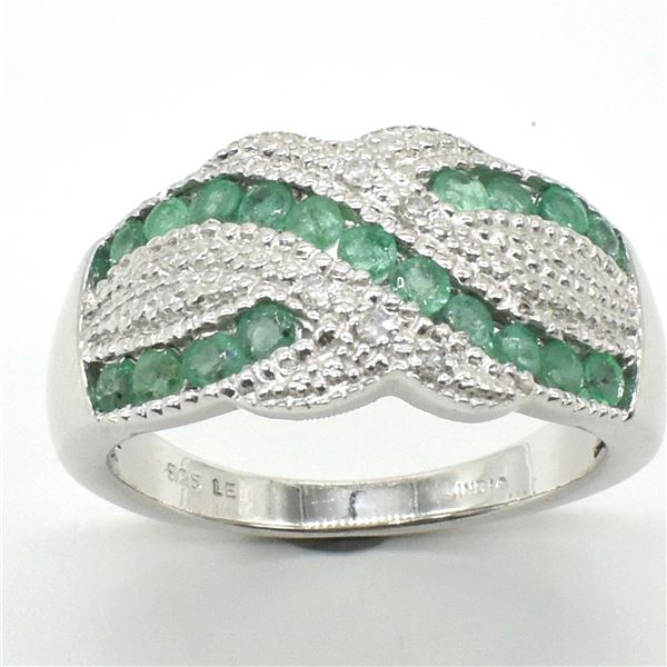 SILVER EMERALD CZ(2.3CT) RHODIUM PLATED RING