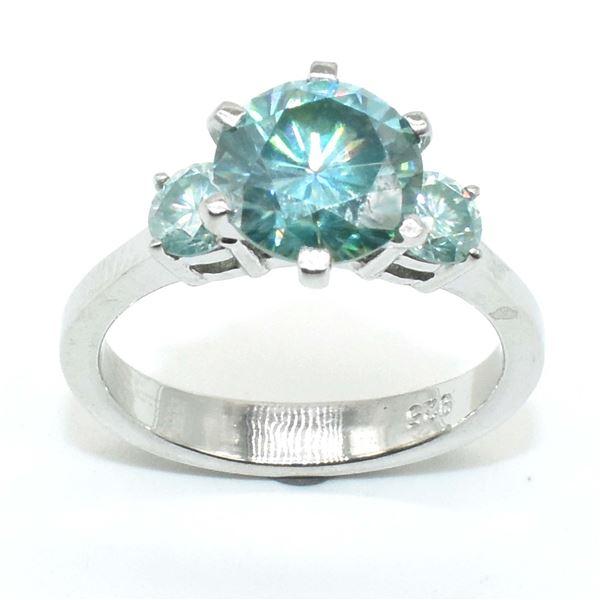 SILVER CERTIFIED MOISSANITE (ROUND 9 & 3 MM)