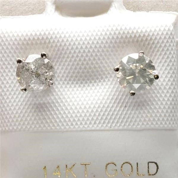 14K WHITE GOLD DIAMOND (I-2,I-J)(1.02CT) EARRINGS