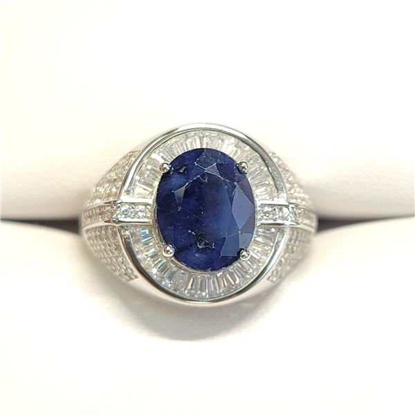 SILVER SAPPHIRE(4.15CT)  RING (~SIZE 10)
