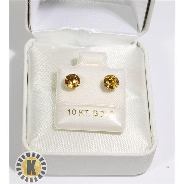 10K YELLOW GOLD CITRINE(1.2CT)  EARRINGS