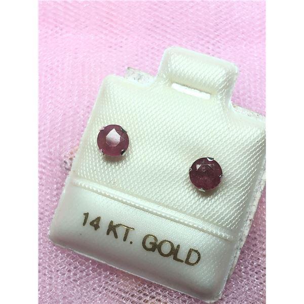 14K WHITE GOLD RUBY (0.85CT) EARRINGS
