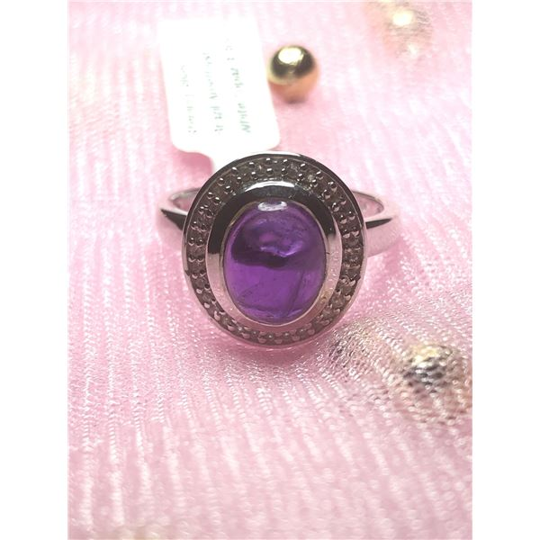 SILVER AMETHYST AND WHITE TOPAZ 3.3CT RING