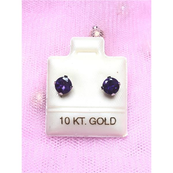 10K WHITE GOLD AMETHYST (1CT) EARRINGS