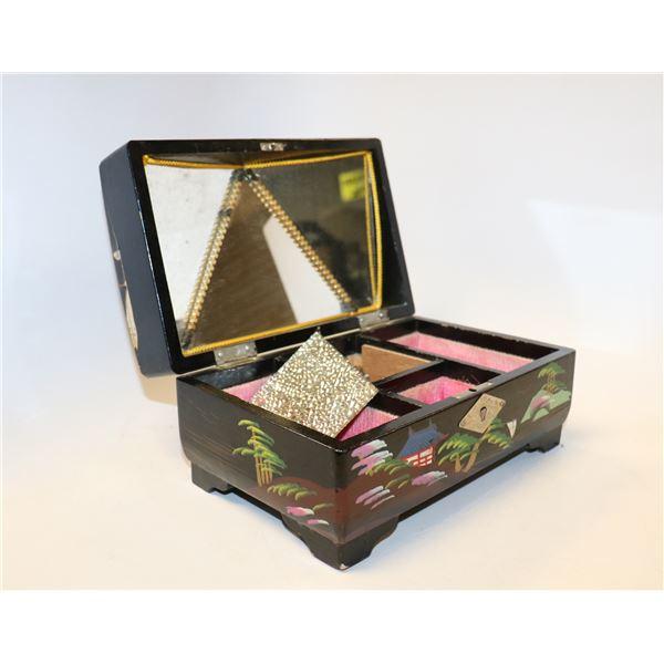 BLACK LACQUERED JEWELLERY BOX
