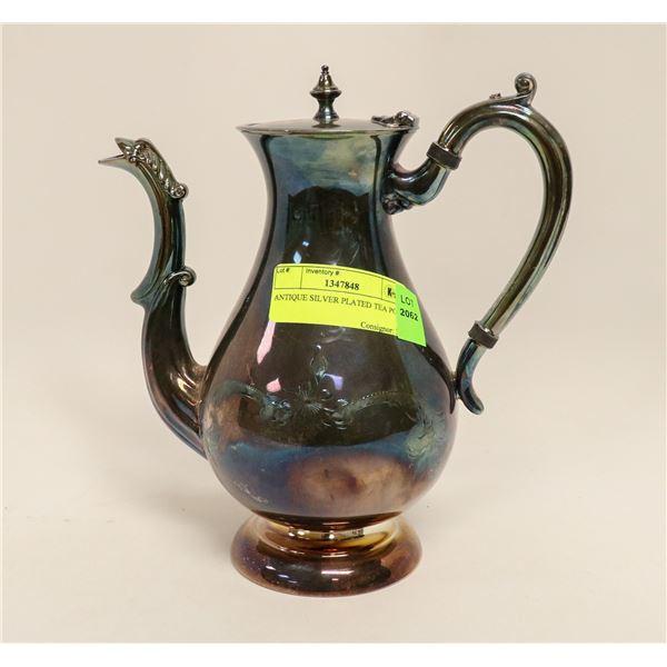 ANTIQUE SILVER PLATED TEA POT