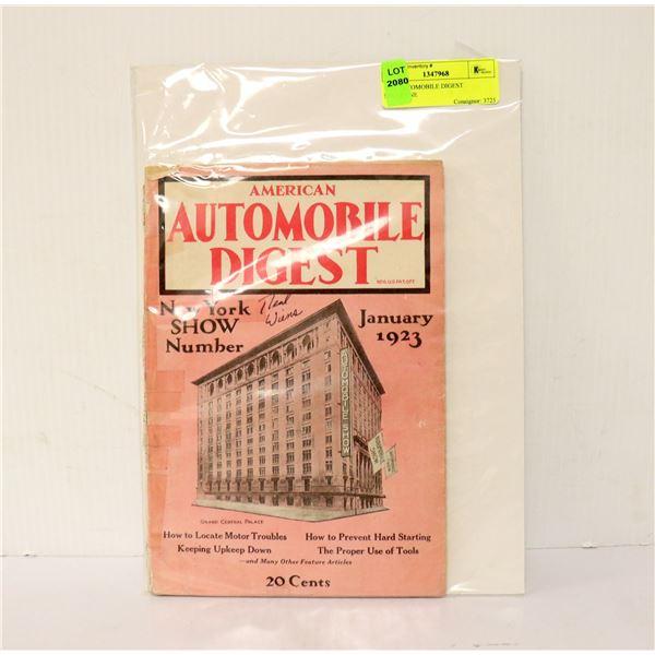 1923 AUTOMOBILE DIGEST MAGAZINE
