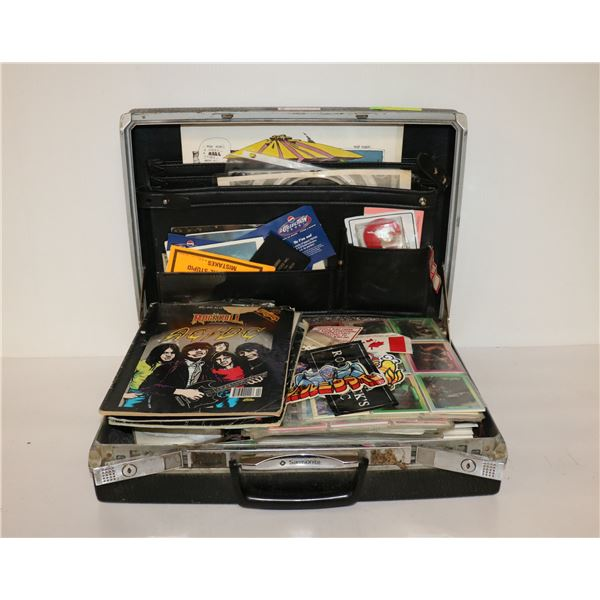 BRIEFCASE FULL OF VINTAGE  CARDS AND COLLECTIBLES